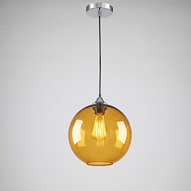 Modern Gl Pendant Light In Round Amber Bubble Design
