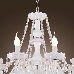 Chandelier White Crystal Modern Living 8 Lights