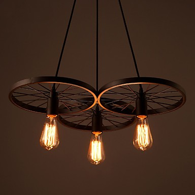 Loft Retro Restaurant Bar Pendant Lamps American Country Wrought Iron Chandeliers Style Wheels
