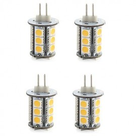 4PCS G4 18LED SMD5050 300-400LM Warm White/White Decorative DC12V LED Bi-pin Lights
