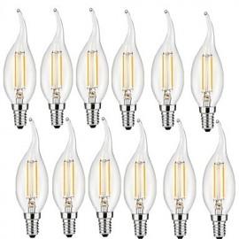 2W E14 LED Filament Bulbs CA35 2 COB 200 lm Warm White Decorative AC 220-240 V 12 pcs