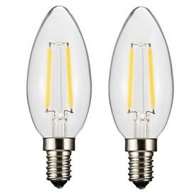 2PCS 2W E14/E12 LED Filament Bulbs C35 2 COB 200 lm Warm White Dimmable AC 220-240 AC 110-130 V