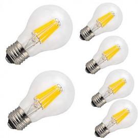 6 pcs-12W E26/E27 LED Filament Bulbs A60(A19) 12 COB 1000 lm Warm White Cool White Decorative AC 220-240 V
