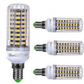4PCS E14 6W AC220-240V 72*5733 SMD LED Intelligent IC Control Cole White/Natural White/Warm White Three-segmented Dimmable LED Corn Bulb