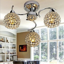 Max40W Modern/Contemporary Crystal / Bulb Included Electroplated Metal Pendant Lights / Flush Mount Bedroom / Dining Room / Hallway