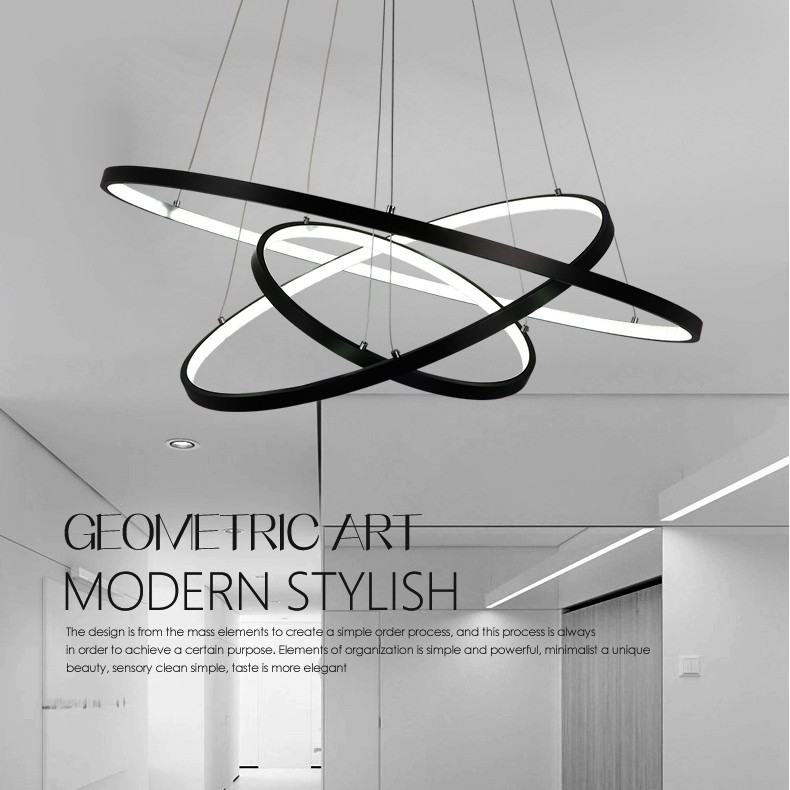 90W Pendant Light Modern Design/ LED Three Rings/ 220V~240/100~
