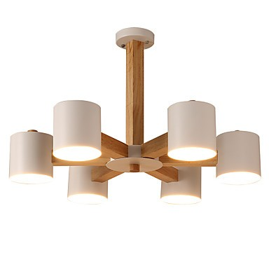 6 Lights Chandelier Modern Contemporary Traditional Classic Vintage Country Wood Feature For Led Wood Living Room Bedroom Dining Room