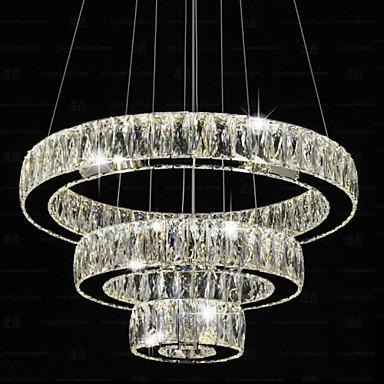 LED Crystal Pendant Lights Modern Lighting Three Rings D406080 K9 Large Crystal Hotel Ceiling Light Fixtures