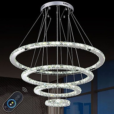 watch 641d3 8f644 Dimmable LED Crystal Chandeliers Lights Remote Control Pendant Lamp  Fixtures with 4 Ring D90705030 CE&UL&FCC