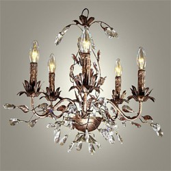 40-60 Vintage Candle Style Antique Brass Metal Chandeliers Bedroom