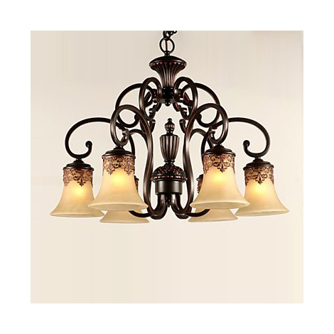 Chandeliers Pendant Lights 6 Lights Lampshade Down Vintage