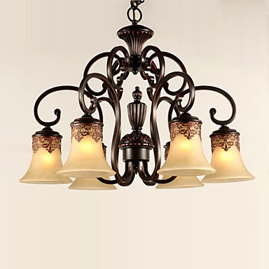 Chandeliers Pendant Lights 6 Lampshade Down Vintage Country Living Room Bedroom Metal Gl
