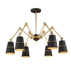 6 Lights Chandelier Vintage Brass Rose Rust Painting Color Metal for Living Room Bedroom E14