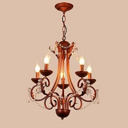 5 Lights Chandelier Modern/Contemporary Traditional/Lodge Vintage Retro Country Painting Feature for Crystal Metal Living Room