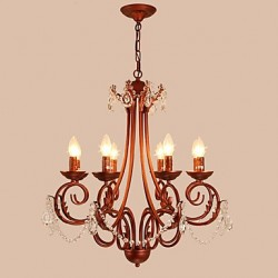 8 Lights Chandelier Modern/Contemporary Traditional/Lodge Vintage Retro Country Painting Feature for Crystal Metal Living Room