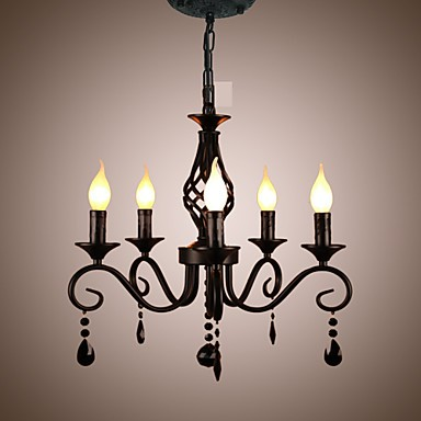 Traditional Crystal Chandelier Interior Lighting 5 Light Candles Simple