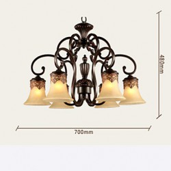 Chandeliers/Pendant Lights/6 Lights/Lampshade Down/ Vintage/Country/Living Room/Bedroom/Metal+Glass