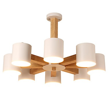 8 Lights Chandelier Modern Contemporary Traditional Classic Vintage Country Wood Feature For Led Wood Living Room Bedroom Dining Room