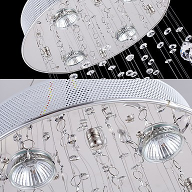LED Crystal Pendant Lights Chandelier Lighting 5 Lights Silver Canpoy Clear K9 Crystal Helix Ceiling Lamps H180CM