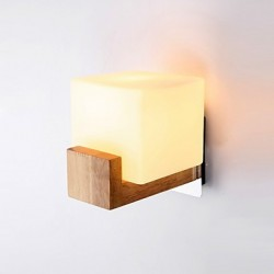 E27 Simple Novelty Country Feature for LED Eye ProtectionAmbient Light Wall Sconces Wall Light Simple Oak Bedroom Bedside Lamp