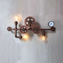 Vintage Industrial Pipe Wall Lights Wood Gear Shape Creative turnable Lights Restaurant Cafe Bar Decoration lighting