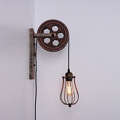 size 40 734d8 c54af Industrial Retro Iron Wall Lamp Creative Personality Lift Pulley Wall Lamp