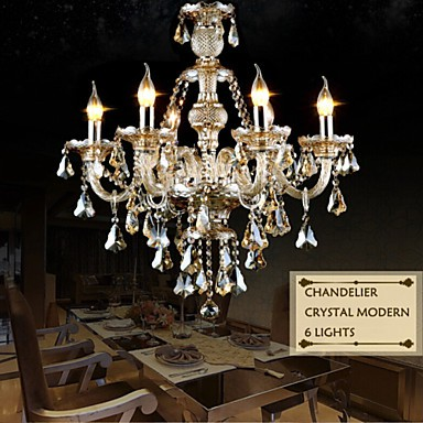 Chandelier Cognac Color Crystal Modern 6 Lights/Contemporary Living Room/Bedroom/Dining Room/Office Glass