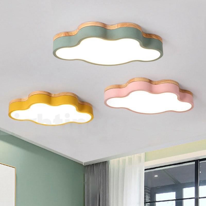 Cloud Macaron Multicolor Kids Modern Contemporary Flush Wood Light For Children Ceiling