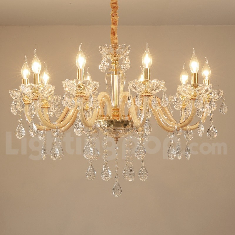 10 Light Gold Chandelier With Clear Crystal Candle