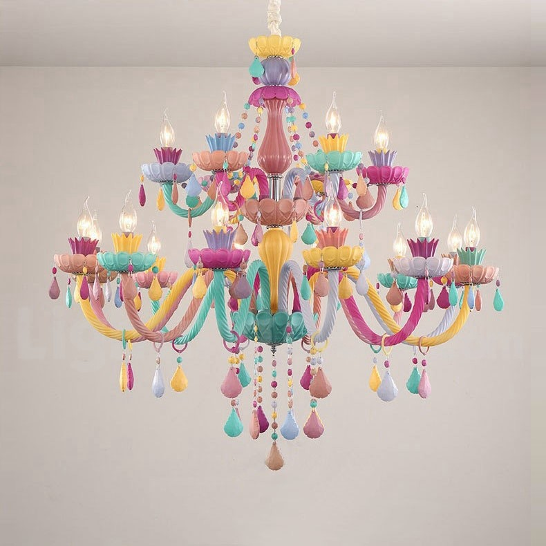 Macaron 18 12 6 Light Chandelier With Multi Colours Crystal Candle Mini Style For Kid S Room Children