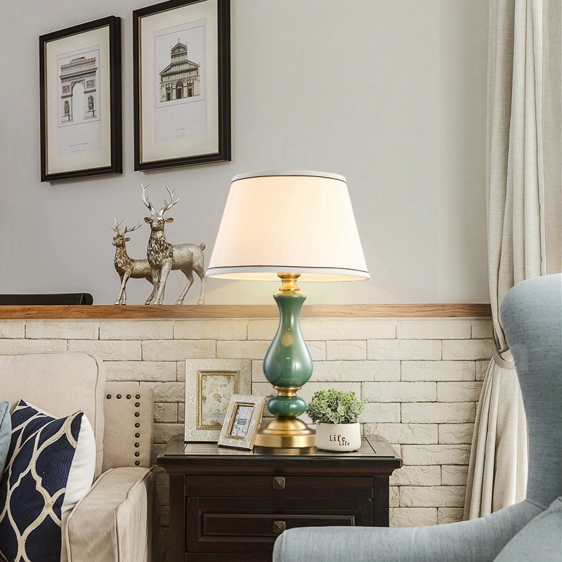 European Pure Brass Ceramics Modern Contemporary Table Lamp