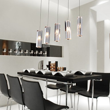 Max 10w Modern Contemporary Island Crystal Bulb Included Chrome Metal Pendant Lights Dining Room