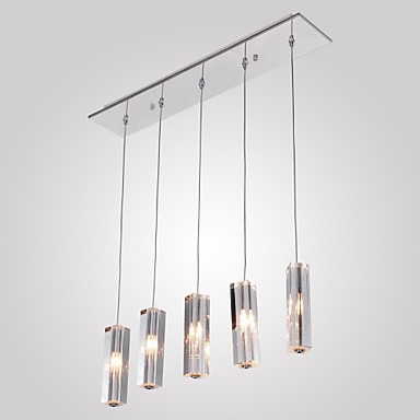 Max 10W Modern/Contemporary / Island Crystal / Bulb Included Chrome Metal Pendant Lights Dining Room
