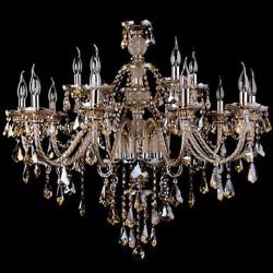 Chandelier Crystal Cognac Color Luxury Modern 2 Tiers Living 15 Lights