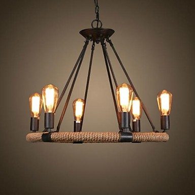40W Traditional/Classic / Rustic/Lodge / Retro / Country / Vintage Painting Metal Pendant LightsLiving Room / Bedroom / Dining Room /