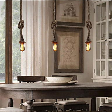1 Light DIY Art Hemp Rope Light Creative Hemp Rope Droplight Long 150CM Send 1 Bulb