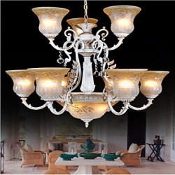 White Chandeliers Twelve-Lights Pattern-Glass-Shade Hand-Gilt European Retro Classic 220V
