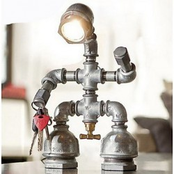 Vintage Industrial Retro Style Steel Pipe Desk Table Lamp Light Comes With LED Bulb Home Restaurant Cafe Decoration
