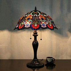 Flower Pattern Table Lamp, 2 Light, Zinc Alloy Glass Painting