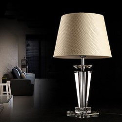 Modern Concise K9 Crystal Table Lamp Flax Shade