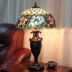 Table Lamp, 2 Light, Quaint Resin Glass Painting