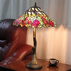 Table Lamp, 2 Light, Splendid Zinc Alloy Glass Painting