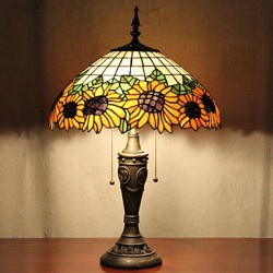 Sunflower Decoration Table Lamp, 2 Light, Resin Glass Painting