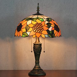 Sunflower Pattern Table Lamp, 2 Light, Resin Glass Painting