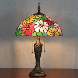 Flower Design Table Lamp, 2 Light, Resin Glass Painting