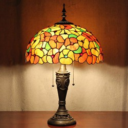 Table Lamp, 2 Light, Dainty Resin Glass Painting