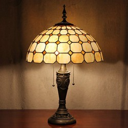 Check Pattern Table Lamp, 2 Light, Resin Glass Painting