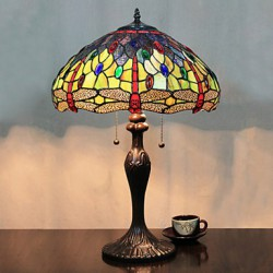 Butterflies And Beads Table Lamp, 2 Light, Resin Glass Painting