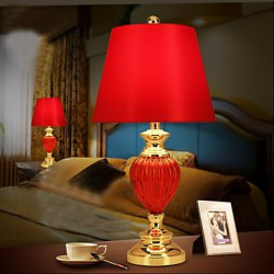 Simple European Style wedding Lamp Glass Red Bedroom Bedside Lamp