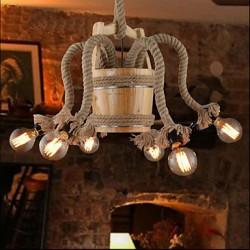 Wooden Cask Chandelier Creative Bar Lamp